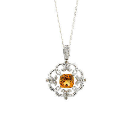 Online Exclusive - Pendant with Diamonds & Citrine in 14kt White Gold