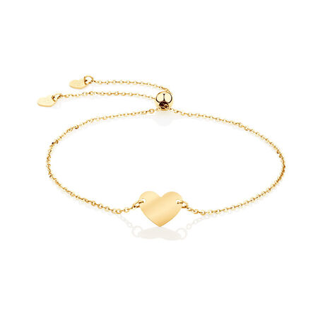 Adjustable Heart Bracelet in 10kt Yellow Gold
