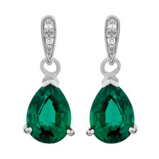 Drop Earrings with Created Emerald & Diamonds in 10kt White Gold