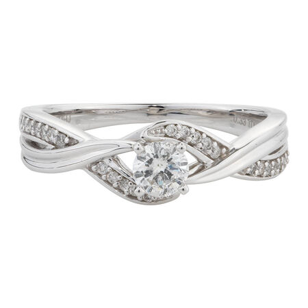 Online Exclusive - Engagement Ring with 0.33 Carat TW of Diamonds in 14kt White Gold