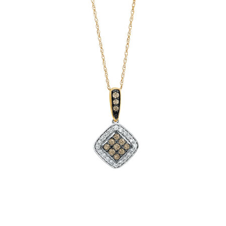 Pendant with 0.39 Carat TW of White & Natural Brown Diamonds in 10kt Rose & White Gold