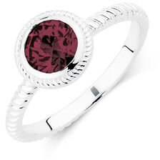 Patterned Burgundy Cubic Zirconia Stack Ring
