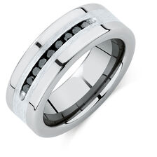 Men S Ring With A 1 4 Carat Tw Of Enhanced Black Diamonds In Sterling Silver