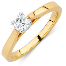 Certified Solitaire Engagement Ring with a 1/3 Carat Diamond in 14kt Yellow & White Gold