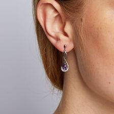 Drop Earrings with Amethyst & Diamonds in 10kt White Gold
