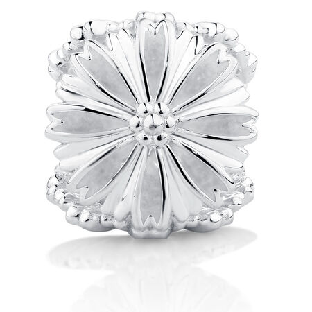 Flower Charm with White Enamel in Sterling Silver