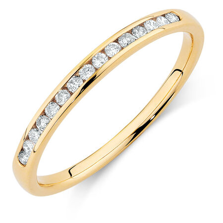 Wedding Band with 1/6 Carat TW of Diamonds in 14kt Yellow Gold