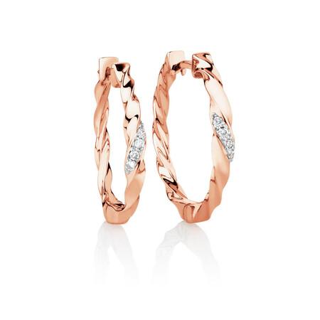 Hoop Earrings with Diamonds in 10kt Rose Gold