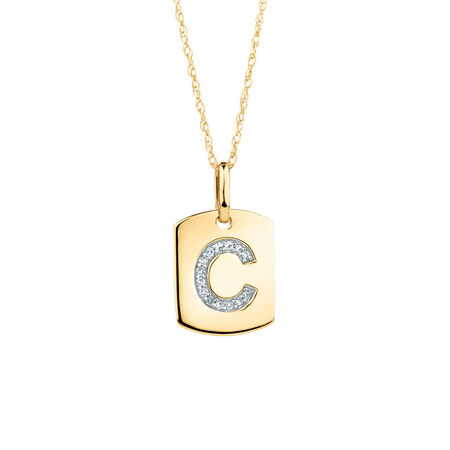 "C"" Initial Rectangular Pendant With Diamonds In 10kt Yellow Gold"