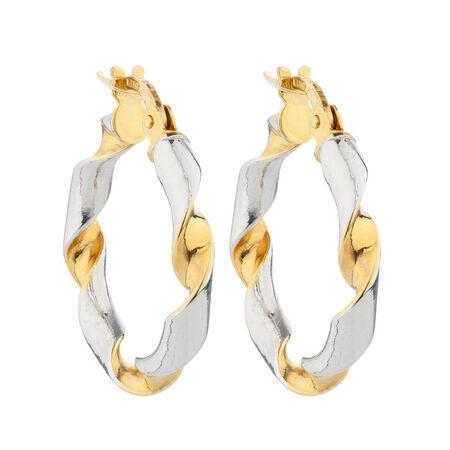 Online Exclusive - Hoop Earrings in 14kt Yellow & White Gold