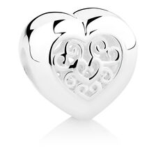 Filigree Heart Charm in Sterling Silver