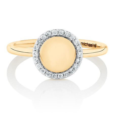 Mini Signet Ring With Diamonds In 10kt Yellow Gold