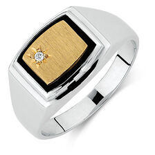 Men's Diamond Set Ring with Black Onyx in 10kt Yellow Gold & Sterling Silver