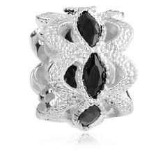 Black Cubic Zirconia & Sterling Silver Art Deco Charm