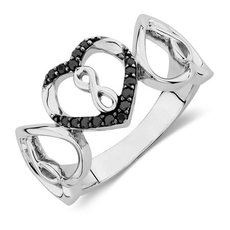 Infinitas Ring with 1/8 Carat TW of Enhanced Black Diamonds in Sterling Silver