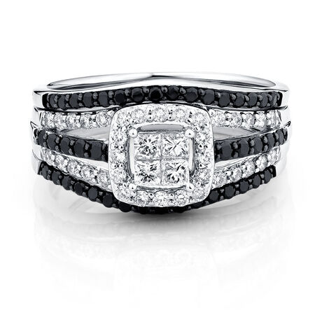 Online Exclusive - Bridal Set with 1 Carat TW of White & Enhanced Black Diamonds in 14kt White Gold