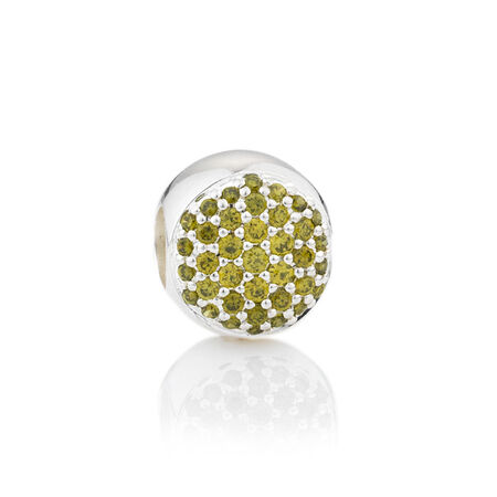 Online Exclusive - Round Pave Set Charm with Olive Cubic Zirconia in Sterling Silver
