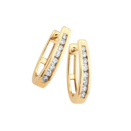 Huggie Earrings with 1/4 Karat TW of Diamonds in 10kt Yellow Gold