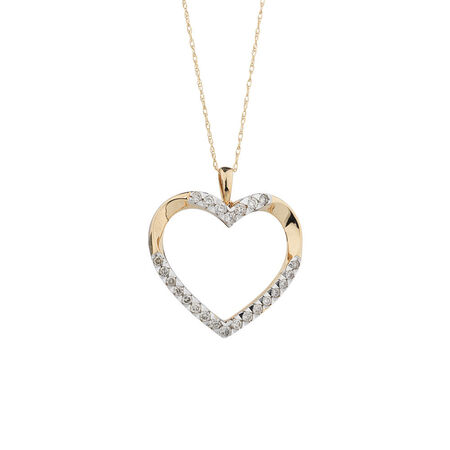 Heart Pendant with 1/2 Carat TW of Diamonds in 10kt Yellow Gold