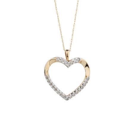 Online Exclusive - Heart Pendant with 1/2 Carat TW of Diamonds in 10kt Yellow Gold