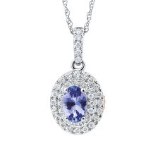 Michael Hill Designer Fashion Pendant with Tanzanite & 1/5 Carat TW of Diamonds in 10kt White Gold