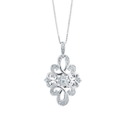 Online Exclusive - Michael Hill Designer Pendant with 1/6 Carat TW of Diamonds in Sterling Silver & 10kt Rose Gold
