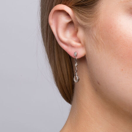 Drop Earrings with 1/10 Carat TW of Diamonds in Sterling Silver