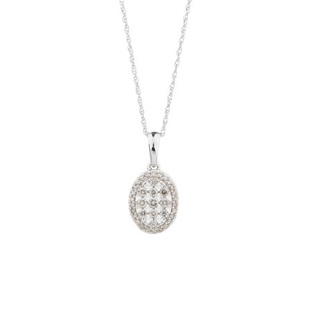 Oval Pendant with 1/4 Carat TW of Diamonds in 10kt White Gold