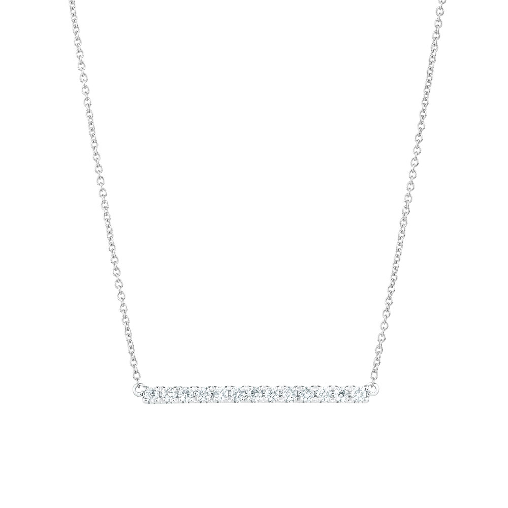 Geometric bar necklace with diamonds in 10kt white gold aloadofball Image collections