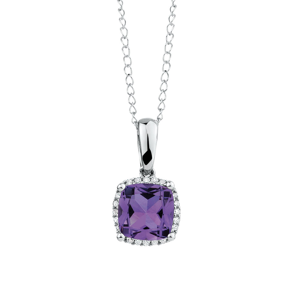 Pendant with amethyst diamond in 10kt white gold mozeypictures Gallery